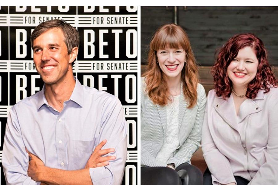 Beto O'Rourke, Sarah Stewart Holland and Beth Silvers